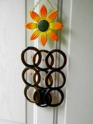 Orange Flower with Brown Rings - Glass Wind Chimes