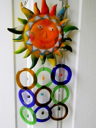 Sunface with Multi Colored Rings - Glass Wind Chimes