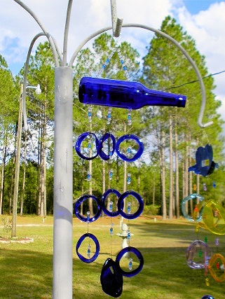 Blue Bottle with Blue Rings - Glass Wind Chimes