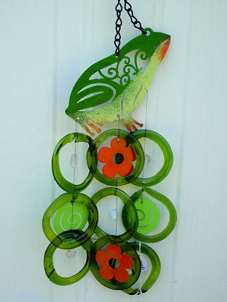 Green Frog with Red Flowers & Green Rings - Glass Wind Chimes