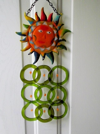 Sunface with Green Rings & Orange Beads - Glass Wind Chimes