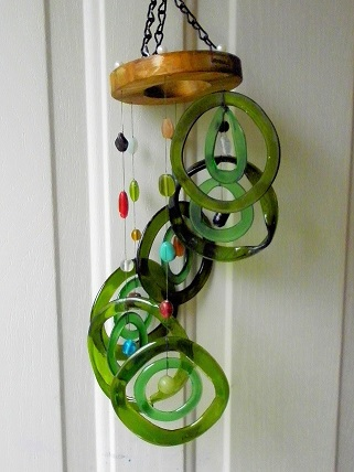 Spiral with Double Green Rings - Glass Wind Chimes