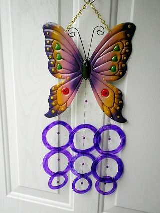 Amber & Purple Butterfly with Purple Rings - Glass Wind Chimes