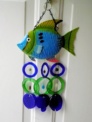 Blue & Green Fish with Blue & Green Rings - Glass Wind Chimes