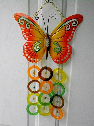 Butterfly with Green, Orange, Brown, & Yellow Rings - Glass Wind Chimes