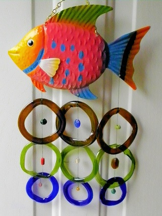 Multi Colored Fish with Multi Colored Rings - Glass Wind Chimes