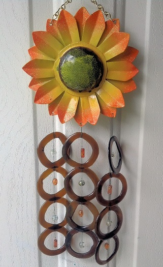 Sunflower with Brown Rings - Glass Wind Chimes
