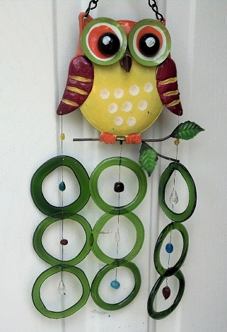 Owl with Green Rings - Glass Wind Chimes