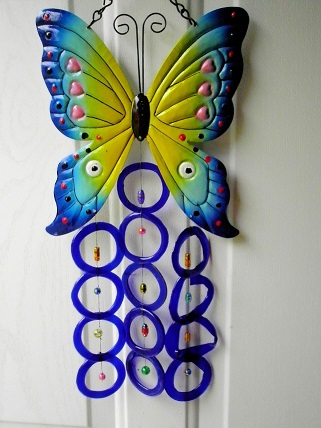 Blue Butterfly with Blue Rings - Glass Wind Chimes