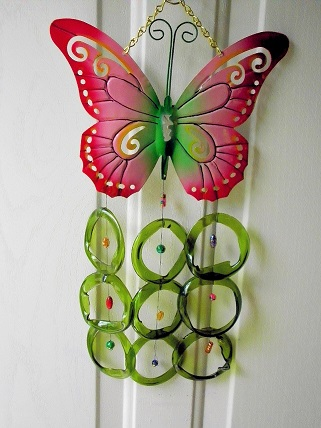 Pink & Green Butterfly with Green Rings - Glass Wind Chimes