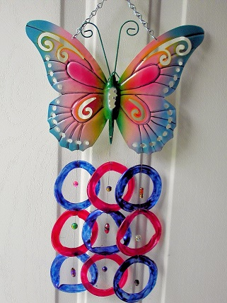 Butterfly with Red & Blue Rings - Glass Wind Chimes