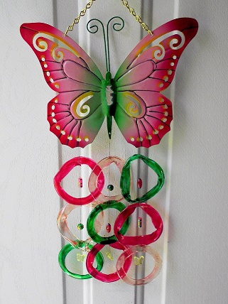 Butterfly with Pink, Red & Green Rings - Glass Wind Chimes