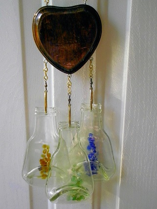 Heart with 3 Bottles - Glass Wind Chimes