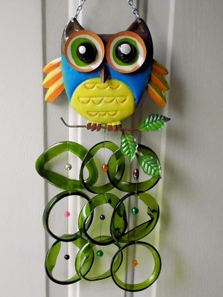 Blue Owl with Green Rings - Glass Wind Chimes