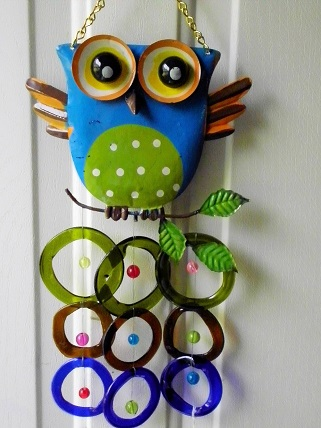 Blue Owl with Multi Colored Rings - Glass Wind Chimes
