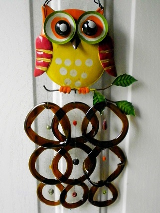 Yellow Owl with Brown Rings - Glass Wind Chimes