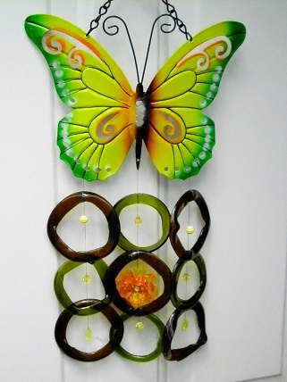 Green Butterfly with Brown & Green Rings - Glass Wind Chimes