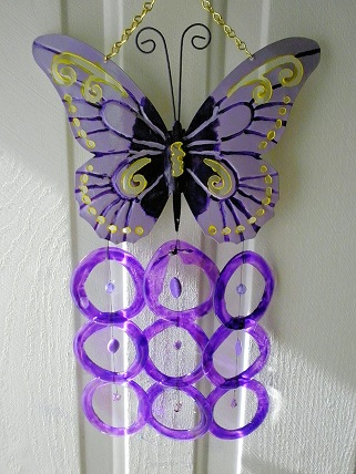Purple Butterfly with Purple Rings - Glass Wind Chimes