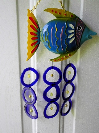 Blue Fish with Blue Rings & Yellow Beads - Glass Wind Chimes