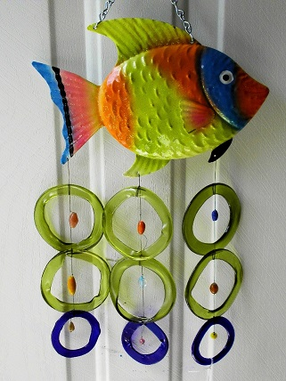 Green Blue and Orange Fish with Green & Blue Rings - Glass Wind Chimes