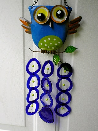 Blue Owl with Blue Rings - Glass Wind Chimes