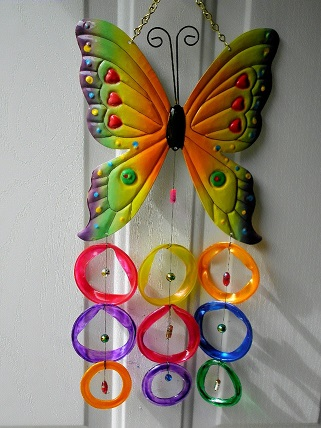 Multi Colored Butterfly with Multi Colored Rings - Glass Wind Chimes