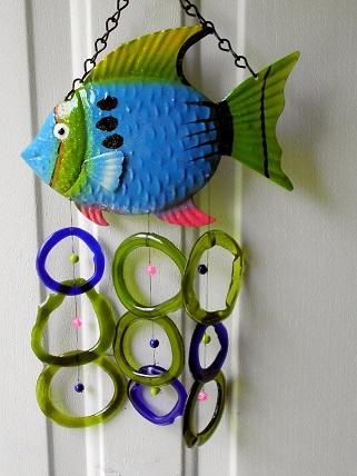 Blue and Green Fish with Green & Blue Rings - Glass Wind Chimes