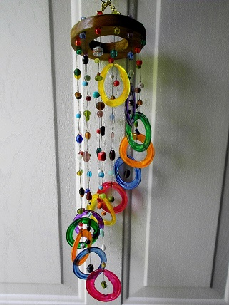Spiral with Multi Colored Rings & Multi Colored Beads - Glass Wind Chimes