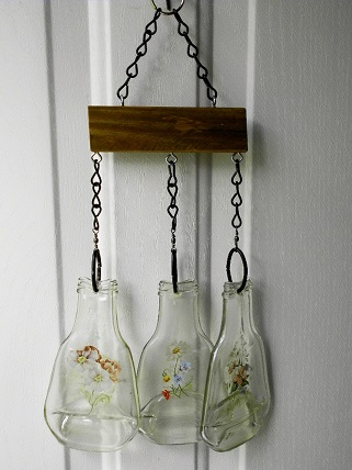 Three Bottles with Flowers - Glass Wind Chimes