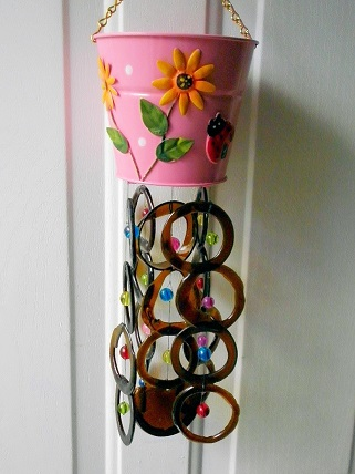 Pink Can with Brown Rings - Glass Wind Chimes