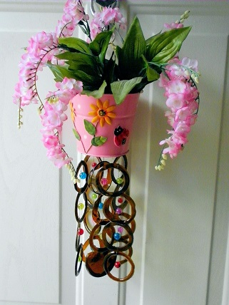Pink Can & Pink Flowers Brown Rings - Glass Wind Chimes