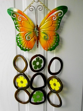 Orange & Green Butterfly with Brown Rings - Glass Wind Chimes