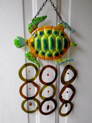 Small Turtle with Green & Brown Rings - Glass Wind Chimes