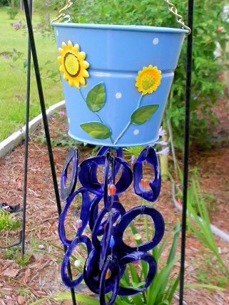 Blue Flower Pot with Blue Rings - Glass Wind Chimes