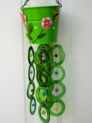 Green Can with Green Rings - Glass Wind Chimes