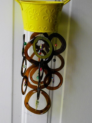 Small Yellow Can with Brown Rings - Glass Wind Chimes