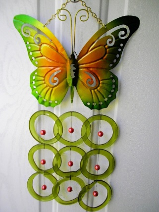 Green & Orange Butterfly with Green Rings - Glass Wind Chimes