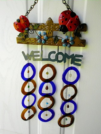 Welcome Lady Bug with Blue & Brown Rings - Glass Wind Chimes