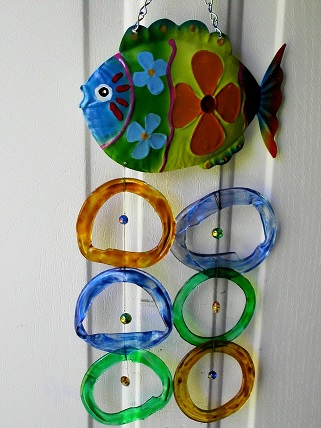 Blue & Green Fish with Multi Colored Rings - Glass Wind Chimes