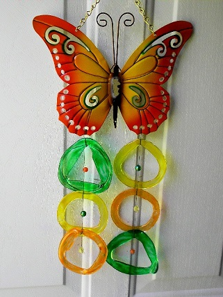 Orange & Yellow Butterfly with Multi Colored Rings - Glass Wind Chimes