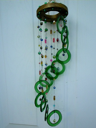 Green Spiral with Fancy Beads - Glass Wind Chimes