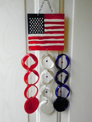American Flag with Red, White, & Blue Rings - Glass Wind Chimes
