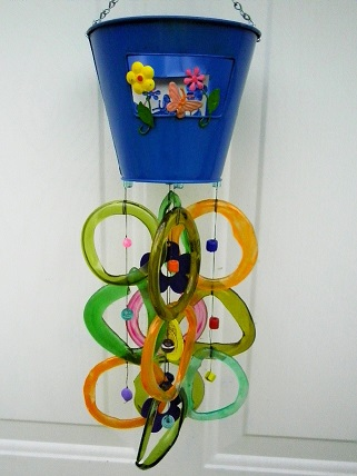 Large Blue Can with Multi Colored Rings - Glass Wind Chimes