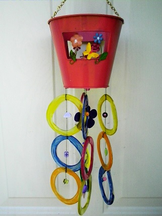 Large Pink Can with Multi Colored Rings - Glass Wind Chimes