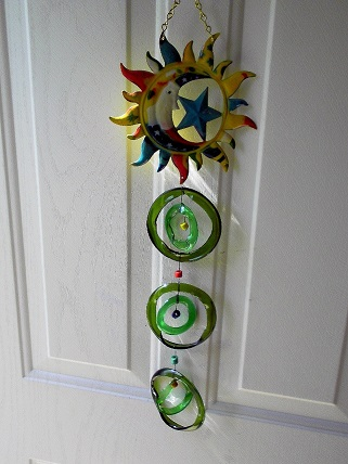 Moon with Double Green Rings - Glass Wind Chimes