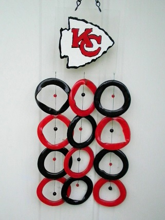 Kansas City Chiefs with Red & Black Rings - Glass Wind Chimes