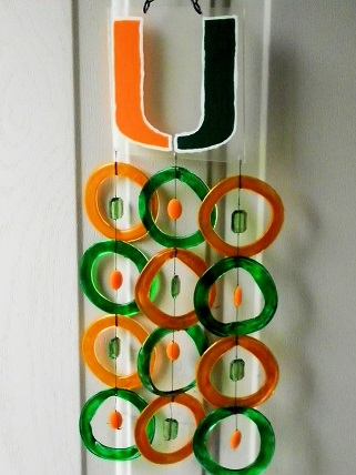 Miami Hurricanes with Orange & Green Rings - Glass Wind Chimes