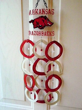 Arkansas Razorbacks with Red & White Rings - Glass Wind Chimes