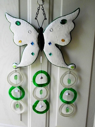 Green & White Butterfly with Green & White Rings - Glass Wind Chimes