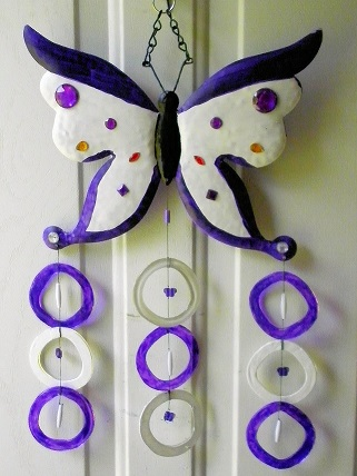 Purple & White Butterfly with Purple & White Rings - Glass Wind Chimes